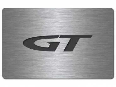 "Fuse box cover stainless steel ""GT"" logo, brushed"